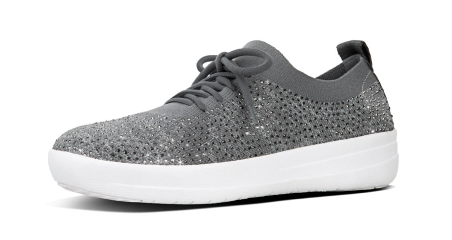 d0f7a9299 Details about Fitflop F-Sporty Uberknit Crystal Sneakers Charcoal Women s  sizes 5-11 NEW!!!
