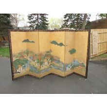Large Antique Japanese Hand Painted Folding Screen Signed Painting