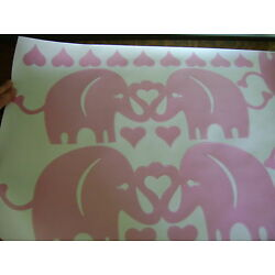 Pottery Barn Kids Pink Elephant Hearts Wall Decal ~ NEW