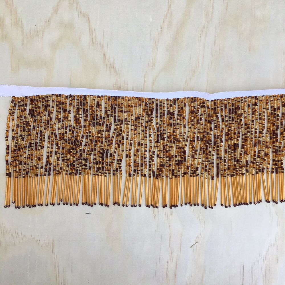 Vintage Amber Glass Bead Fringe For Lamp Shade By Foot