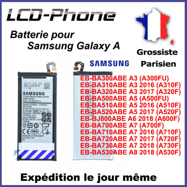 Batterie Samsung Galaxy A3,A5,A6,A7,2016,2017,2018 - Neuve 0 Cycle
