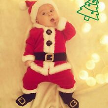 4PCS Infant Baby Girl Boy Santa Christmas Top+Pants+Hat+Socks Outfit Set Costume