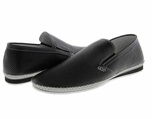 37e3a8a6974 Details about ZANZARA Men s MERZ Slip-On Premium Perforated Leather Shoes  Black Pick Size