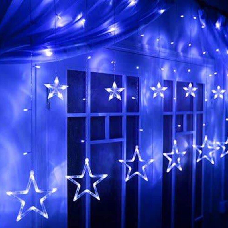 Details About Blue Le Stars Fairy String Led Lights Curtain Window Party Decorations
