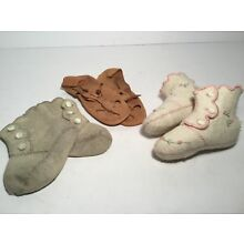 Antique Baby Shoes, Felt & Leather, Lot of 3