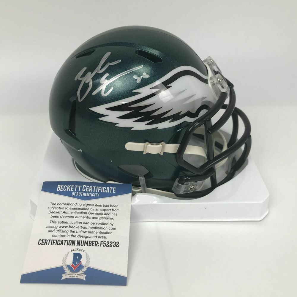 0b03e3a2a87 Details about Autographed/Signed ZACH ERTZ Philadelphia Eagles Mini Helmet  Beckett BAS COA