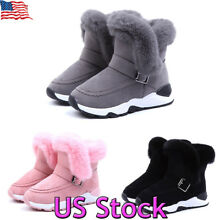 Girls Boys Warm Winter Flat Shoes Toddler Kids Faux Fur Lined Snow Boots Sneaker