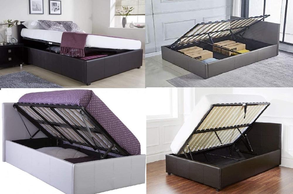 Ottoman Storage Bed Side Lift Opening Single Double 4ft6