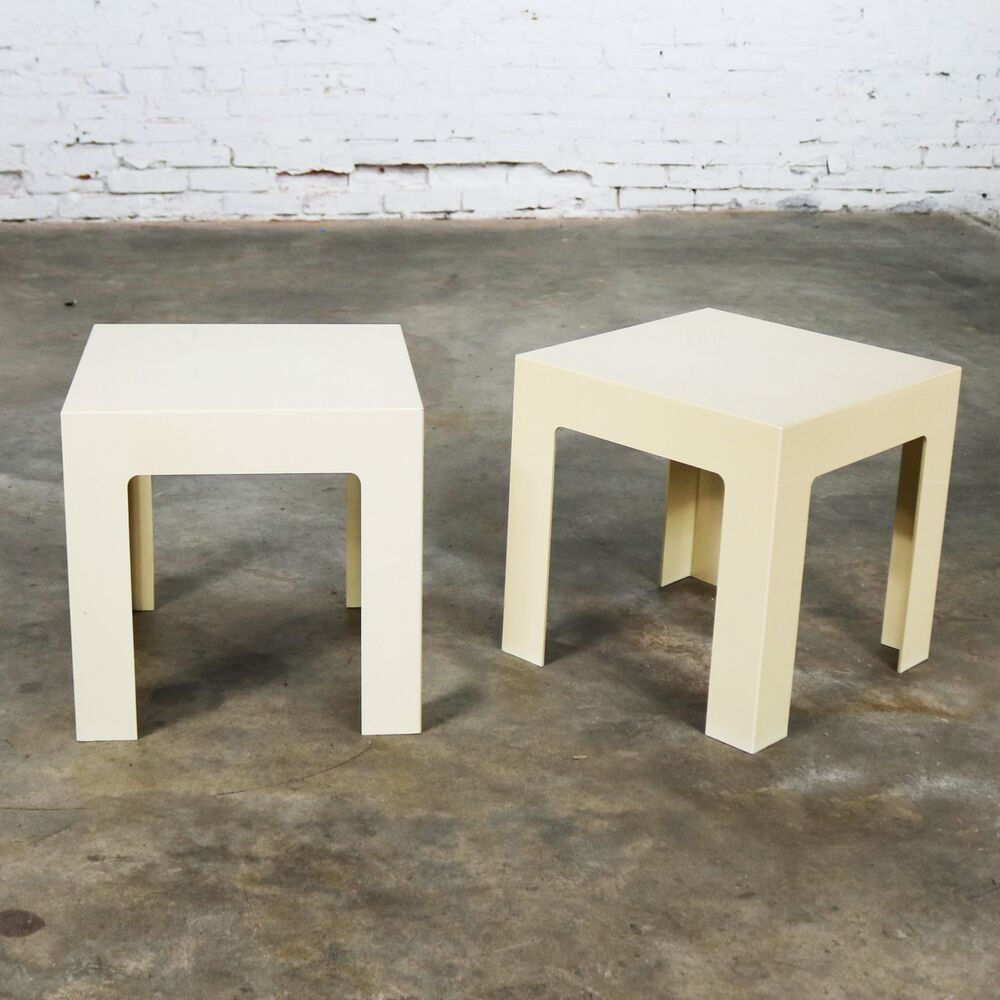 Pair Plastic Parsons Side Tables Antique White Style Kartell Or