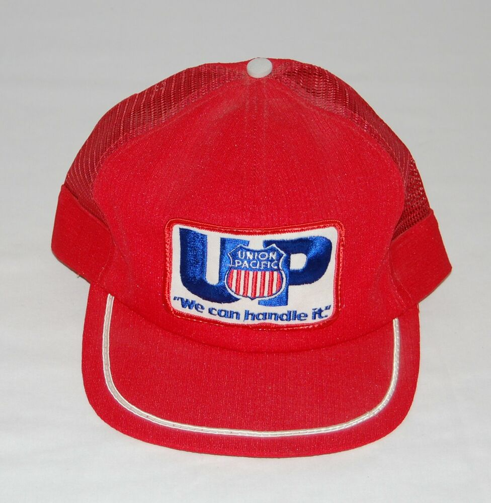 e17aa860d10 Details about Vintage Union Pacific Railroad Snapback Trucker Hat Mesh UP  Train We Can Handle
