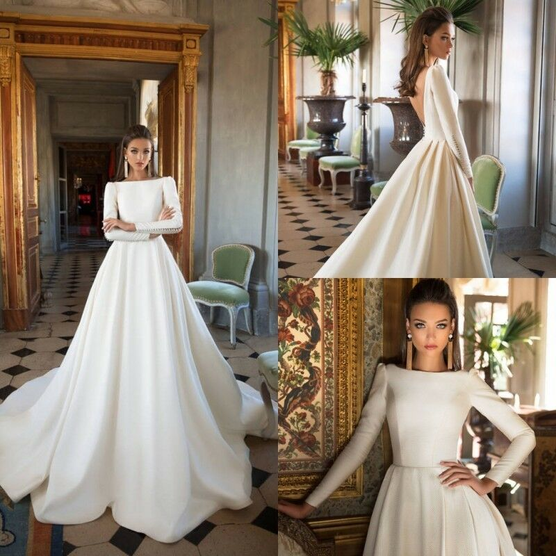 30a7ded6a9ac Details about Wedding Dresses Long Sleeves Off-Shoulder Backless Bridal  Ball Gowns Formal 2019