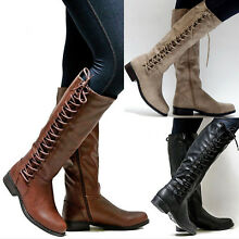 Womens Knee High Boots Ladies Flat Side Lace Up Motorcycle Riding Shoes Size US