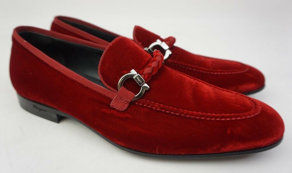 04f5aacb75a Details about Salvatore Ferragamo Men s Lord 2 Red Velvet Bit Gancini Loafers  Shoes Size 7 D
