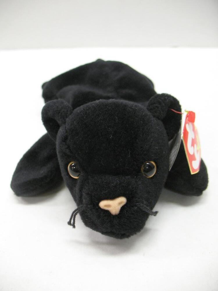 Details about TY RETIRED 1995 Beanie Baby Velvet Black Panther Big Cat Tag  Errors PVC beb5775224eb
