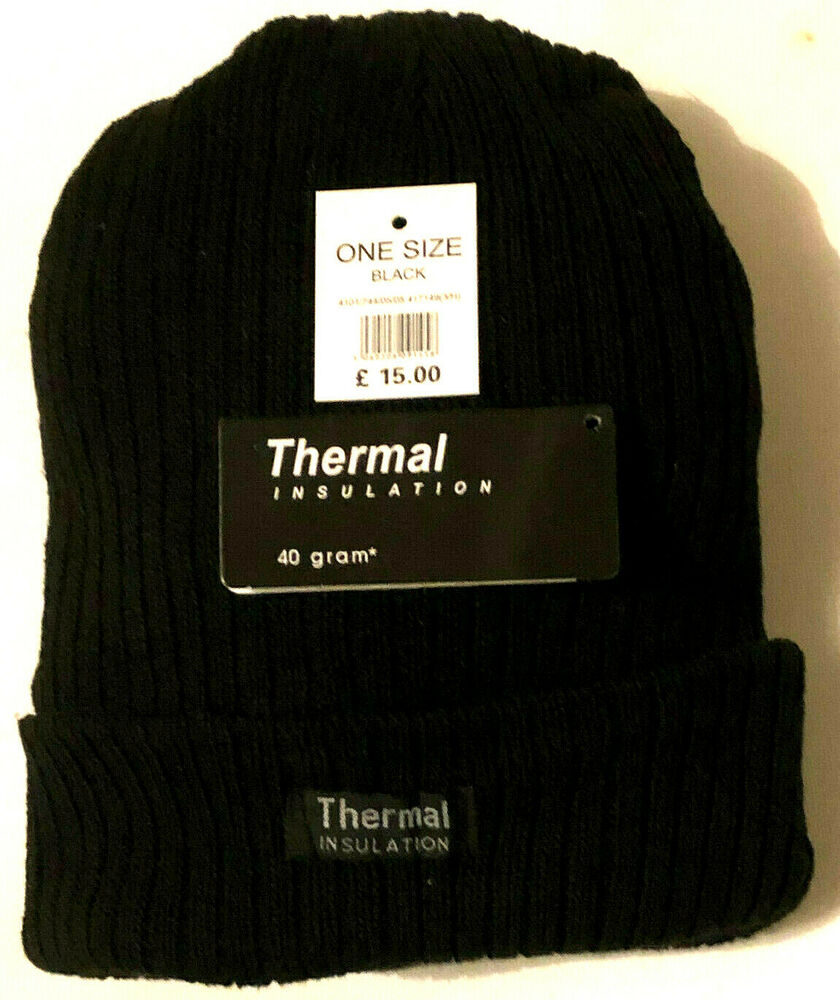 29967022bdc0e Details about New Mens Thermal Thinsulate Fleece Lined Beanie Ski Hat Mens  winter hat BLACK