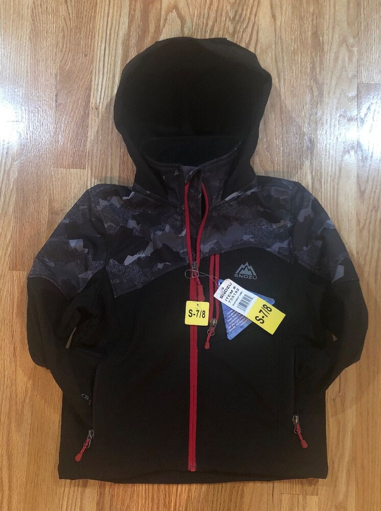 7aa2fd18a NEW BOYS Youth Softshell Jacket Black 7 8 Attached Hood Full Zip ...