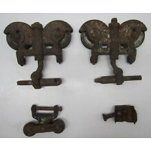 Pair Antique Vtg Myers Stayon Stay On Farm Barn Door Track Roller Trolley Pulley