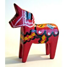 Antique Swedish DALA HORSE Folk Art Good LUCK Carved Wood Hand Painted