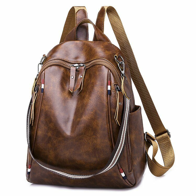 21501388e2 Details about Women Backpack High Quality Brown Leather Backpacks Girls  School Shoulder Bags