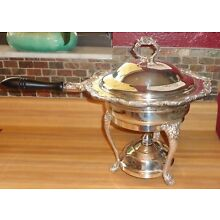 Vintage 5 Piece Silverplate Chafing Dish Set Ornate Floral