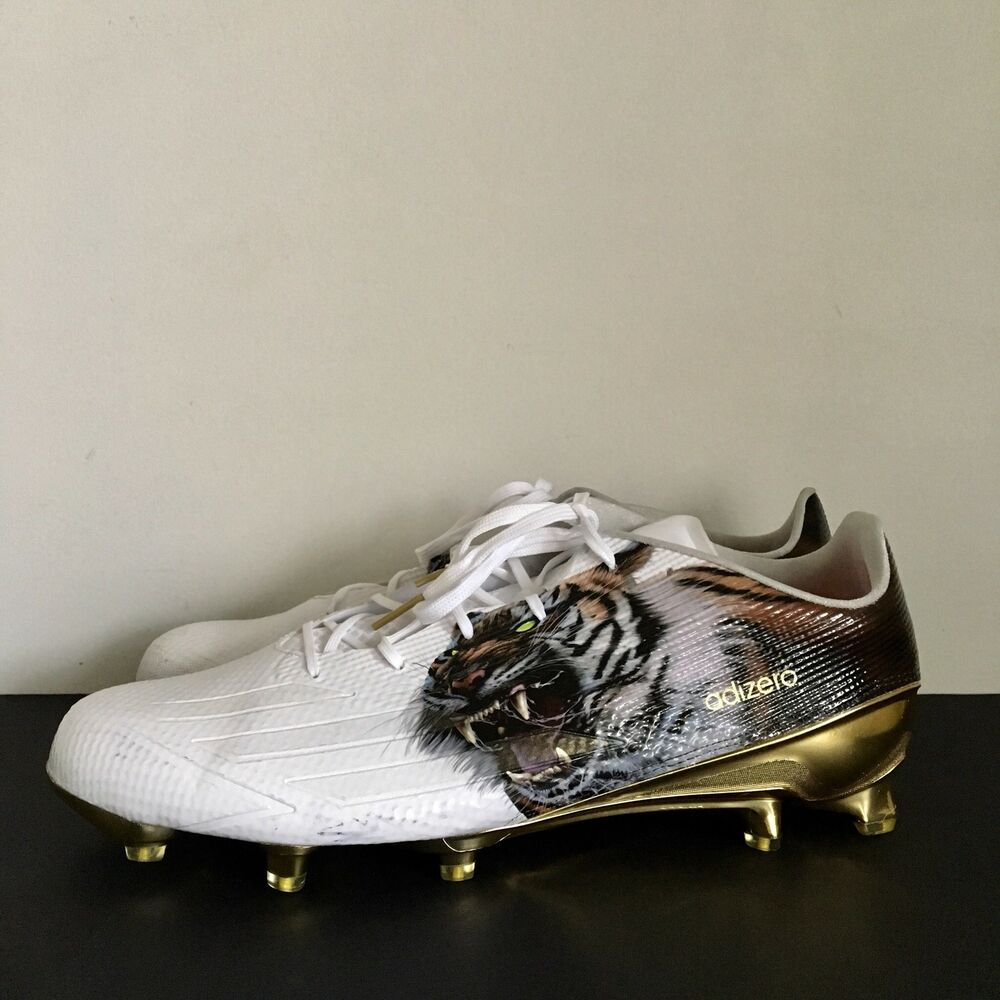 4f8bc7bab94 Details about Adidas Adizero 5-Star 5.0 Uncaged Football Cleat White Gold  Tiger Mens Size 16