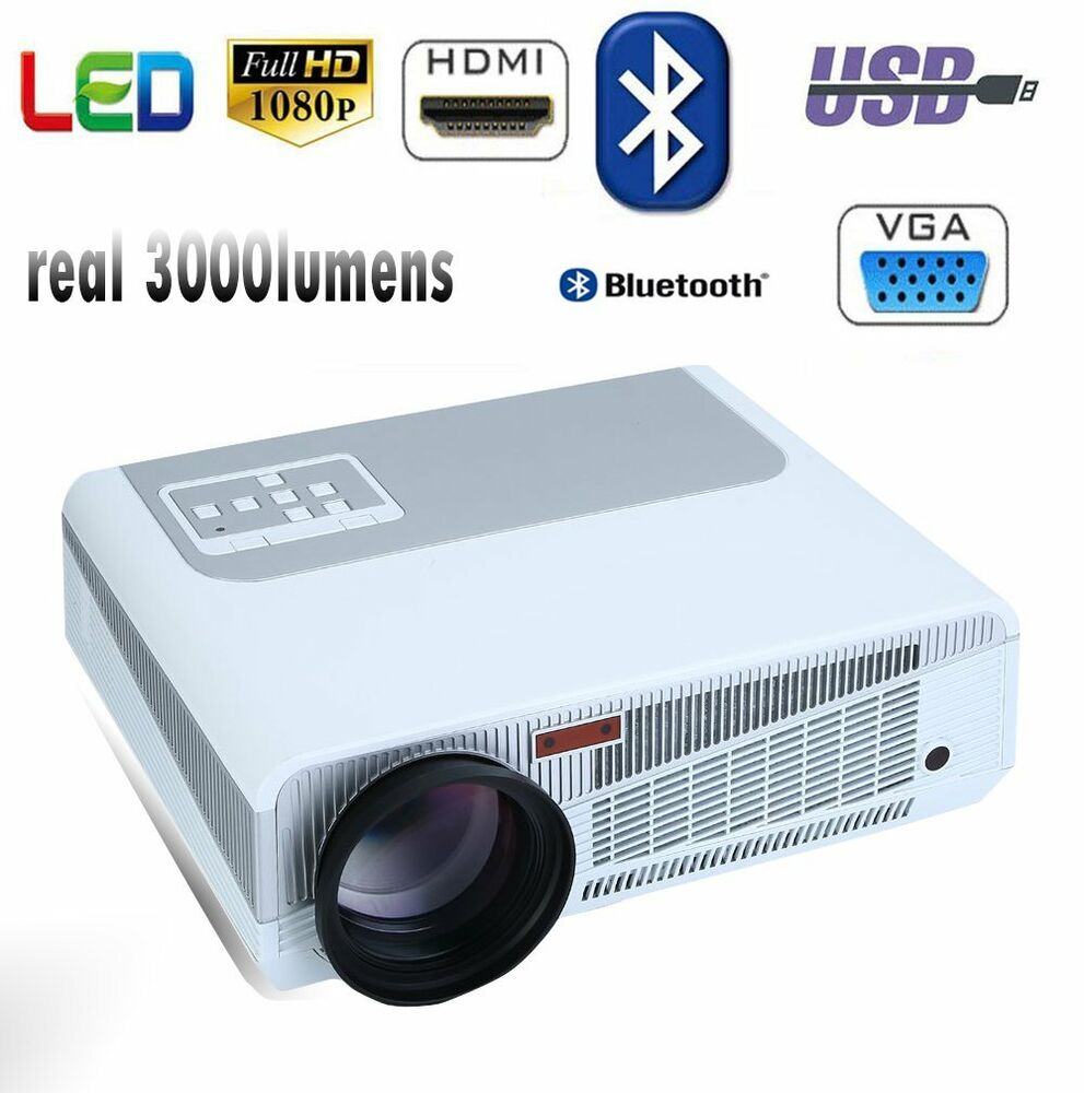 3000 Lumens Hd Home Theater Multimedia Lcd Led Projector: Multimedia 3000 Lumens HD Bluetooth 3D 4K LED Home Cinema