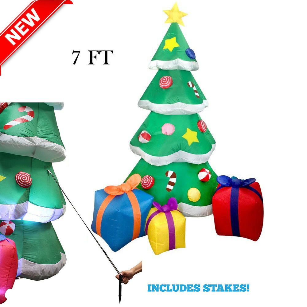 7 FT Inflatable Christmas Tree Airblown Led Light Yard Outdoor ...