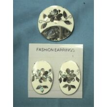 SALE-ABALONE MEXICO ALPACA SILVER PIN/PENDANT & MATCHING POST EARRINGS SET-NEW