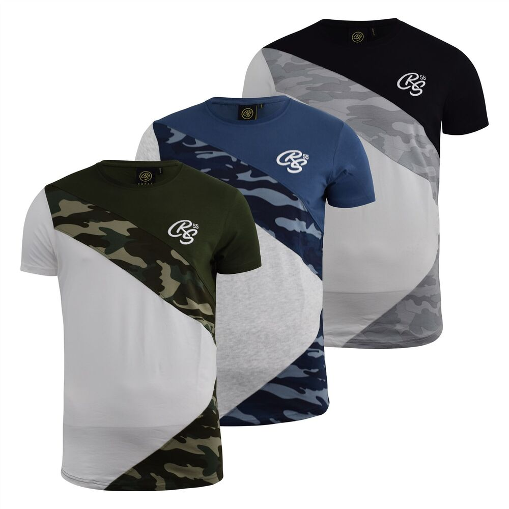 0ebc263c Details about Mens T-Shirt Crosshatch Camo Print Crew Neck Tee Top Browfoot