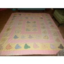 ANTIQUE VINTAGE FEED SACK BUTTERFLY QUILT