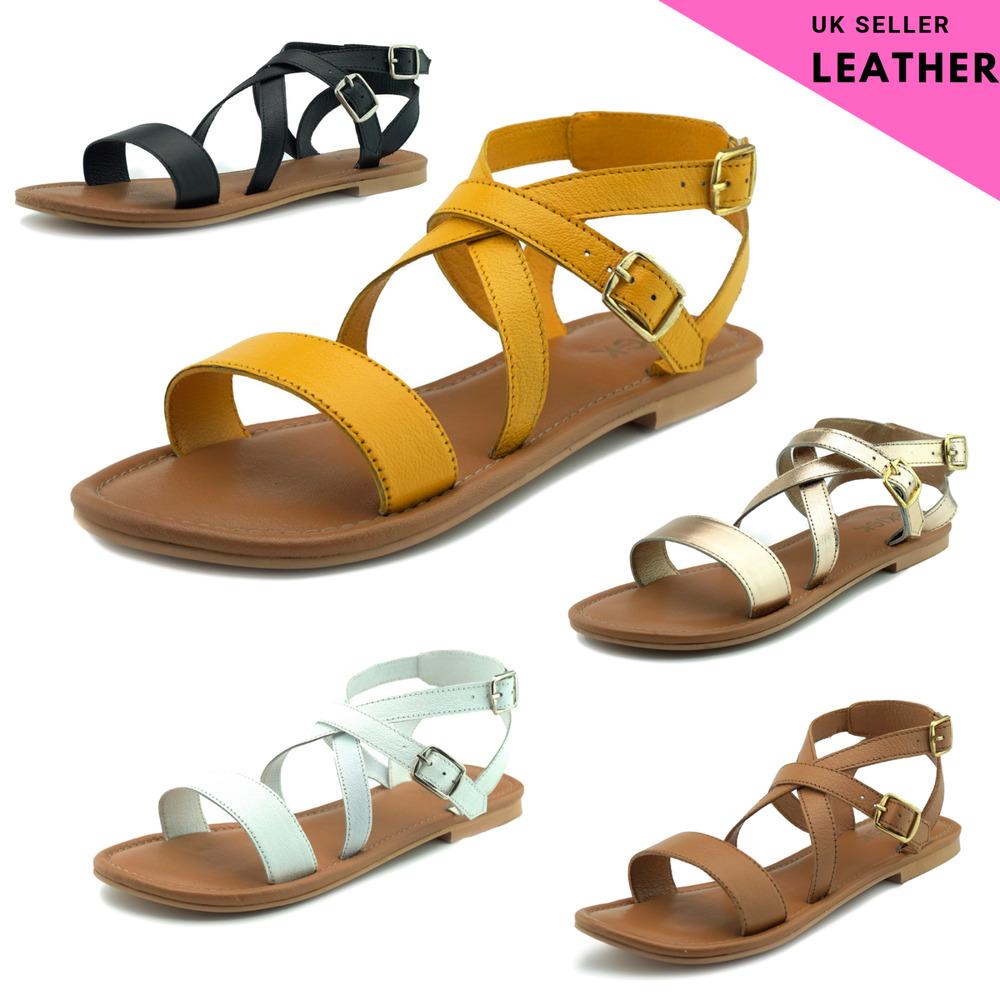 5d7eb9ef0b8 Details about Womens Gladiator Sandals Leather Strap Yellow White Gold  Black Tan Flat Comfort