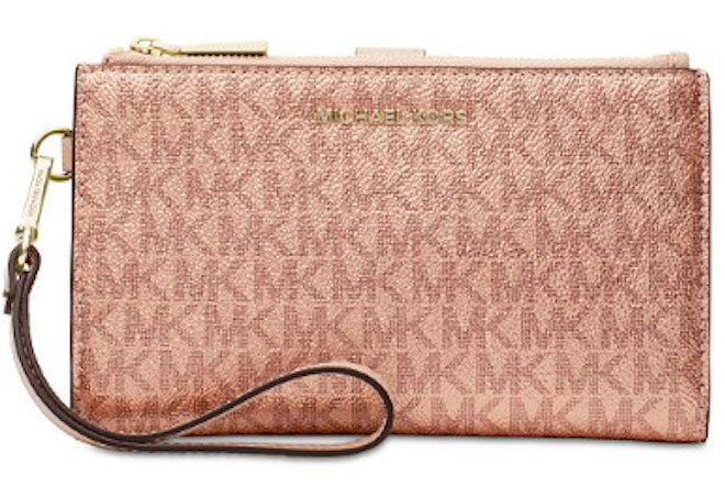 4bbc819f1650 🌺🌹 Michael Kors Boxed Metallic Signature Double-Zip Wristlet Soft Pink