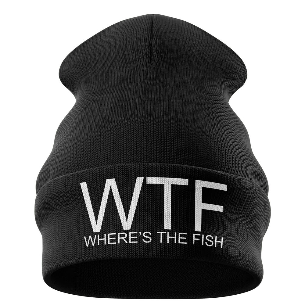 Details about Fishing Gifts for men - WTF Wheres the Fish Funny Beanie Hat  Angling Dad B6 6ef828fd729