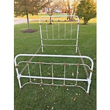 Antique Victorian Metal Cast Iron Full Bed Frame with Rails