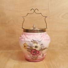 Antique Porcelain BISCUIT JAR w/ Silverplate Handle & Lid ~ Pink Floral