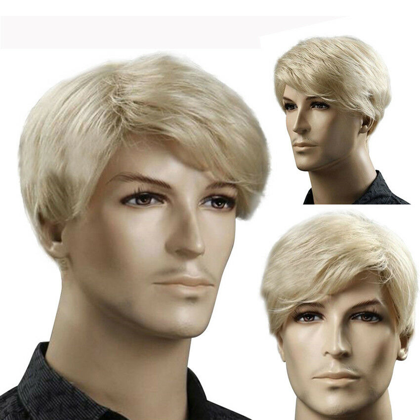 Handsome Quiff Wig For Men Blonde Straight Short Synthetic Hair