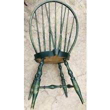 Pair of Fine, Signed, Green Painted, R.I. Braced-back Windsor Side Chairs