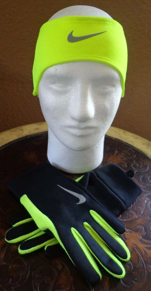 cde641b2b7a Details about Nike Men s Running Thermal Headband Glove Set  Black Volt Silver Large