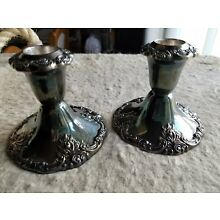 Vintage Pair of Baroque by Wallace 750 Candle Stick Holders Heavy, beautiful