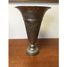 Vintage Vase Plated Metal 1920's Trumpet Fluted Ribbed Tapered Hammered Footed