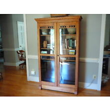 Antique Maple Tall Glass Door Bookcase TV China Display Cabinet, Cherry Stain