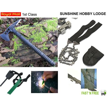 img-Hunting Survival Bush-Craft Kit Military Style Axe, Hand Chainsaw & Fire Striker