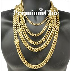 Kyпить Mens Miami Cuban Link Chain HEAVY 18k / 14k Gold Plated Stainless Steel  на еВаy.соm