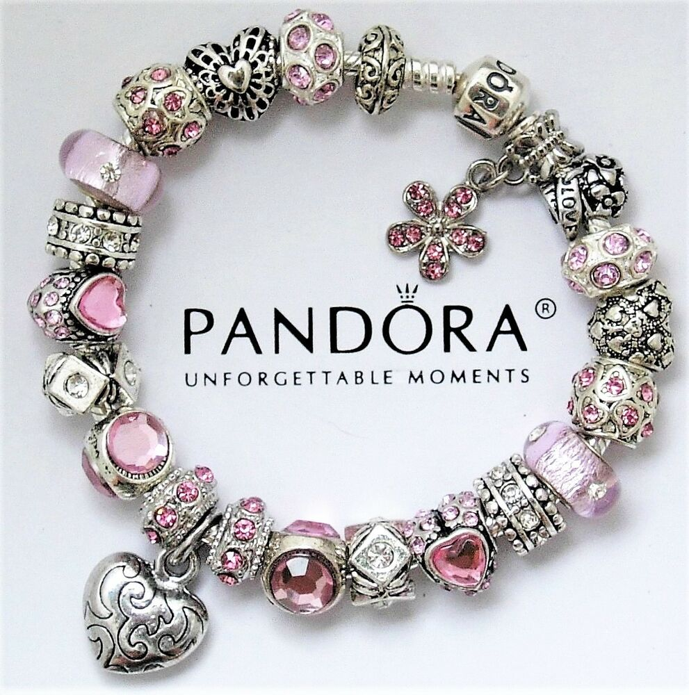 authentic pandora silver charm bracelet with pink love