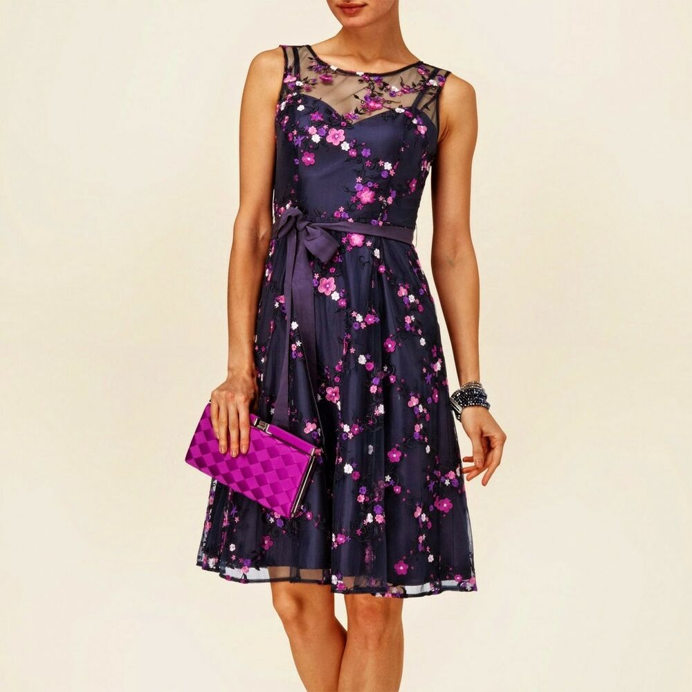 aada47d662fc Details about PHASE EIGHT FLEUR NAVY LACE MESH PURPLE FLORAL 50 S SKATER  DRESS 10 TWICE £170