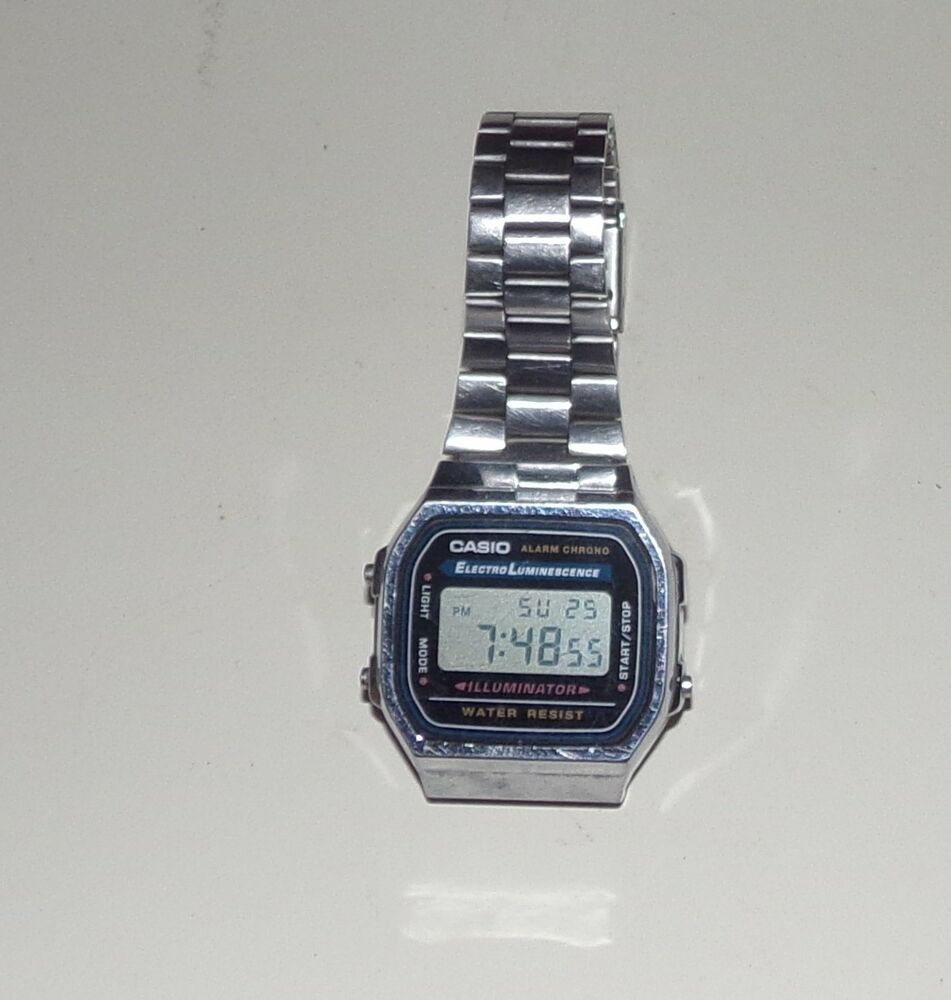 d79c9afeddb Detalhes sobre Vtg Casio A168 Electro Luminescence Water Resist Watch Alarm  Chrono Illuminator