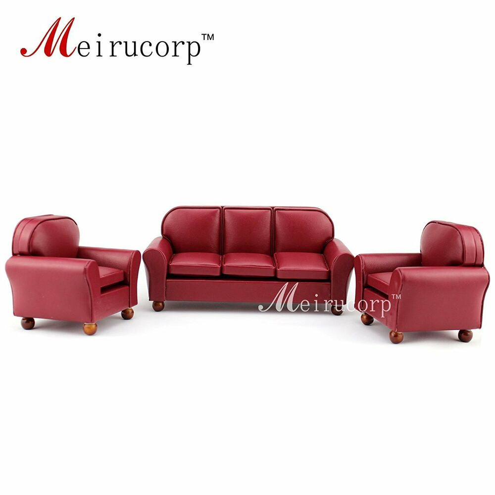 Dollhouse Furniture 1 12 Scale Miniature Red Leather Sofa And Chair 3 Pcs Set Ebay