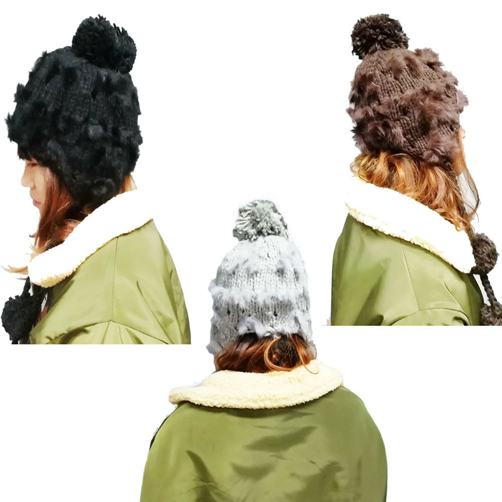 10d15575408 Details about warm winter women hats with ear flaps snow ski ball knitted beanie  cap hat