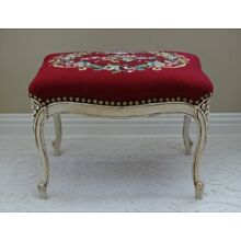 Vintage Wood Chalk Paint Bench Seat or Foot Stool