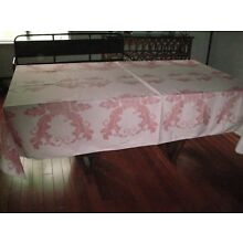 STUNNING VINTAGE DAMASK TABLECLOTH, 104 by 57 PINK, 1940ish  50s??